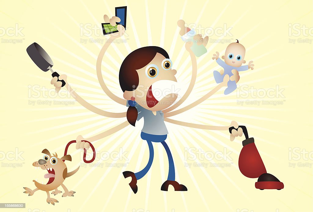Multi-tasking Mama royalty-free stock vector art