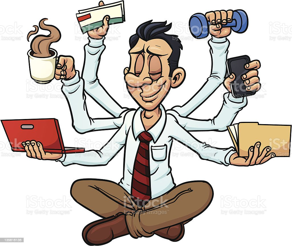 Multitasking man royalty-free stock vector art