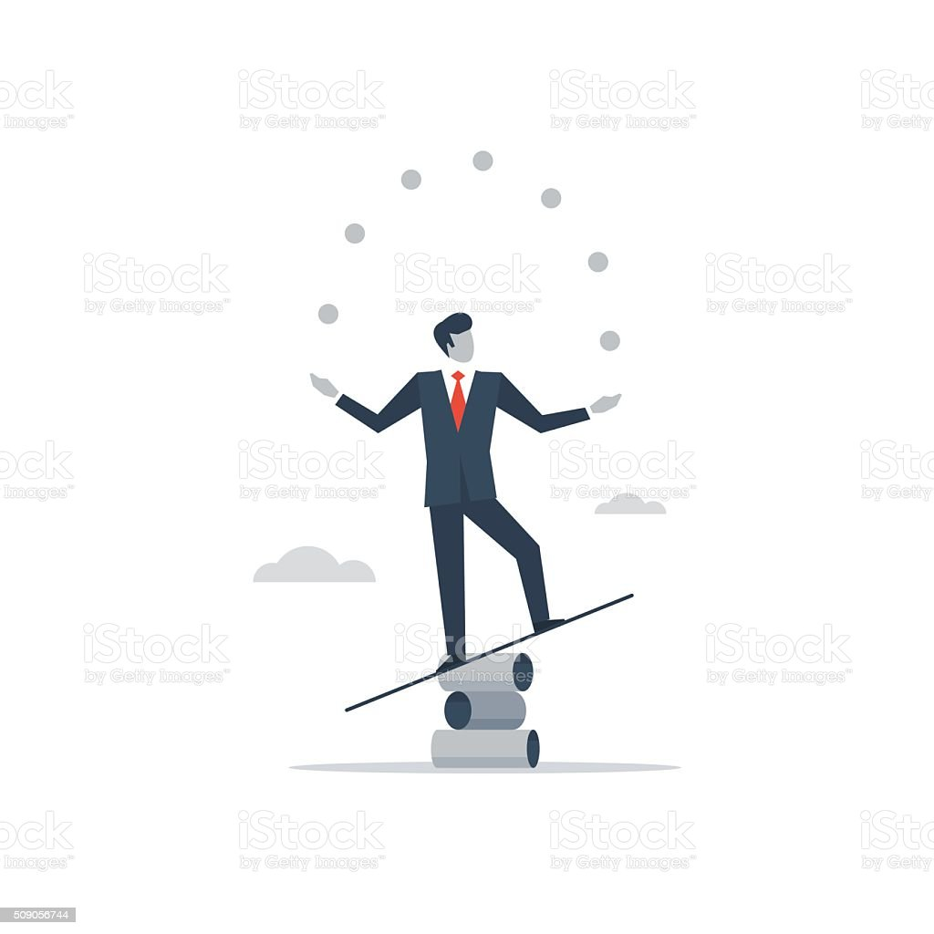 Multitasking manager vector art illustration