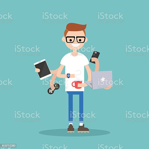 Multitasking millennial concept vector id615712262?b=1&k=6&m=615712262&s=612x612&h=2kad7hbxzfiplsatqukmbxxefnwkr0ikce4tcssfyqs=