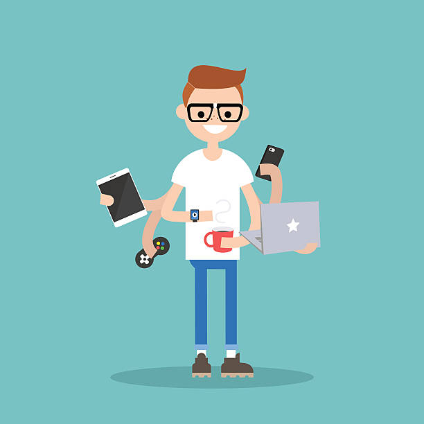 illustrazioni stock, clip art, cartoni animati e icone di tendenza di multitasking millennial concept - young digital