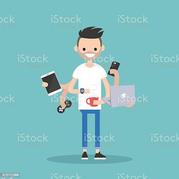 Multitasking millennial concept vector id615712568?b=1&k=6&m=615712568&s=612x612&h=n3azt6fkj 7yxv3jl5r8wmkalutp2njsnnbmsfe9g2u=