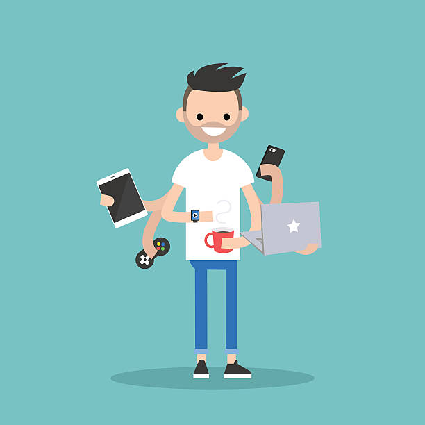 Multitasking millennial concept young bearded man using a lot of devices at the same time  / flat editable vector illustration millennial generation stock illustrations