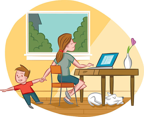 Multitasking Mom vector art illustration