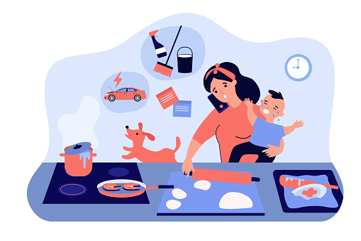 Multitasking mom with baby flat vector illustration