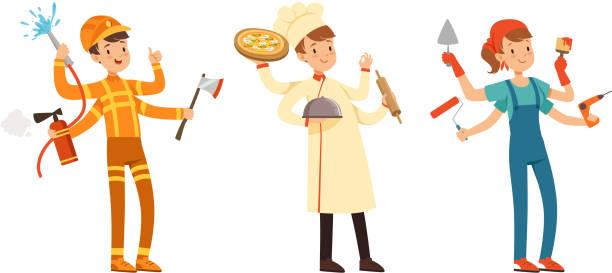 ilustraciones, imágenes clip art, dibujos animados e iconos de stock de multitarea people collection, bombero, chef cook, personajes de pintor con muchas manos estilo de dibujos animados ilustración vectorial - busy restaurant kitchen