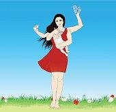 Vector illustration of Young Multitasking super mother