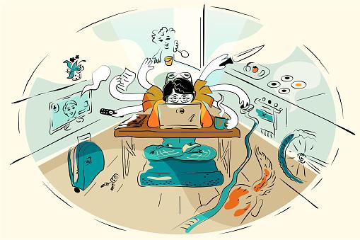 Multitasking woman at home laptop, multi-armed mother during quarantine Vector Illustration