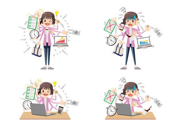 マルチタスク女性 - 大学生 パソコン 日本点のイラスト素材/クリップアート素材/マンガ素材/アイコン素材
