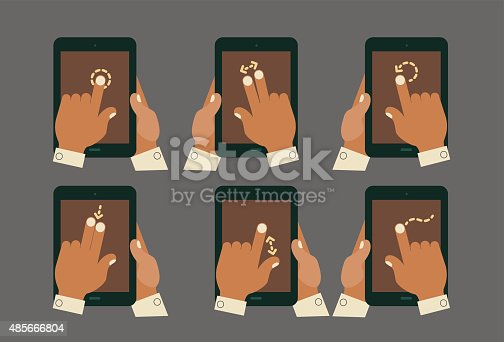 istock Multitouch gesture hands with tablet mockups 485666804