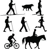 Vector illustration of Multi-use Trail Users. Hiker, Runner, Biker, Skiier, Snowshoer, and Horse Rider.