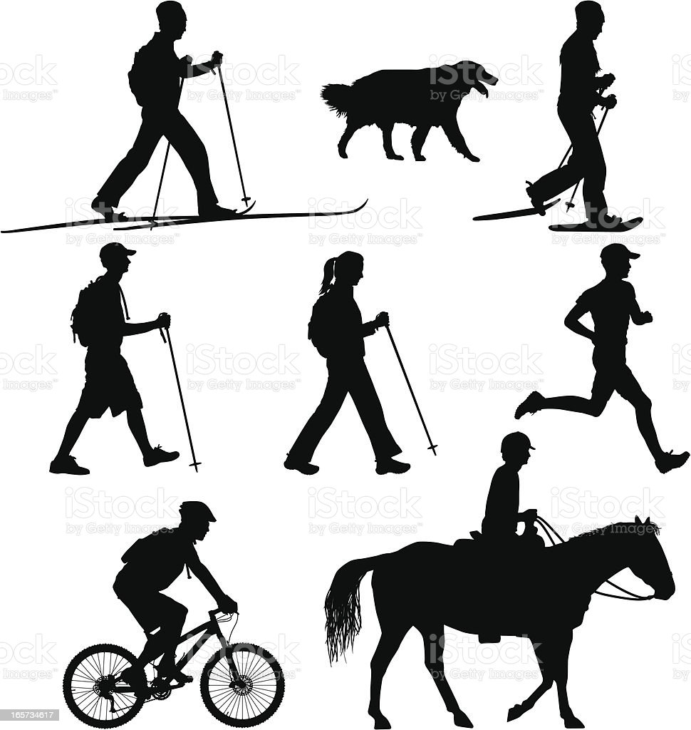Multi-use Trail Users - Hike Bike Run Ski Horse vector art illustration