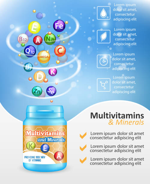 multivitamin kompleksi reklam vektör tasarım şablonu - vitamin d stock illustrations