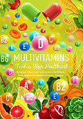 Multivitamins in natural fruits, cereals and vegetables for healthy food. Vector poster for vitamin nutrition pills and capsules in tropical pineapple, coconut or papaya, broccoli and chicory salad