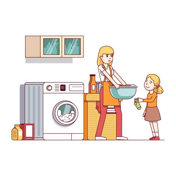 mama und tochter hausarbeit in waschküche - schrankkorb stock-grafiken, -clipart, -cartoons und -symbole