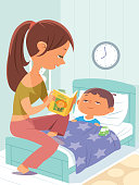 Vector Mum reading bedtime story to little son