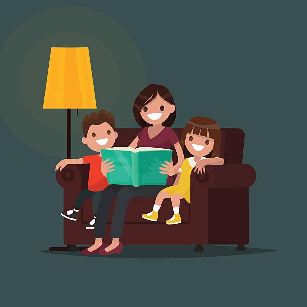 bildbanksillustrationer, clip art samt tecknat material och ikoner med mum reads the book to children. vector illustration - parent talking to child