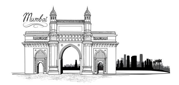 stockillustraties, clipart, cartoons en iconen met de stad van mumbai, india. stedelijke skyline met een wolkenkrabber gebouwen silhouet. reizen india achtergrond - mumbai