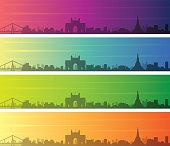 Mumbai Multiple Color Gradient Skyline Banner