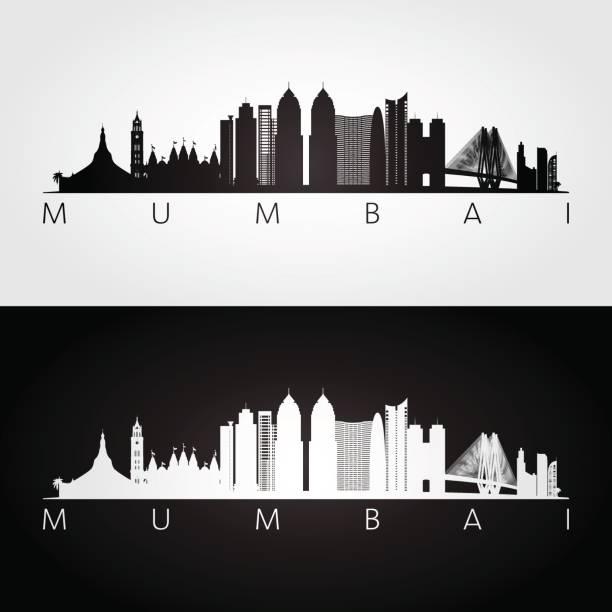 stockillustraties, clipart, cartoons en iconen met mumbai skyline en bezienswaardigheden silhouet, zwart / wit ontwerp, vectorillustratie. - mumbai