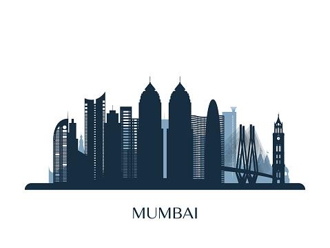 Mumbai skyline, monochrome silhouette. Vector illustration.