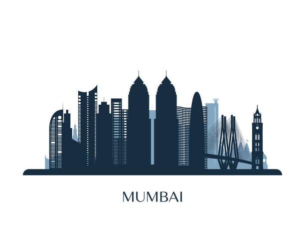 stockillustraties, clipart, cartoons en iconen met de skyline van mumbai, zwart-wit silhouet. vectorillustratie. - mumbai