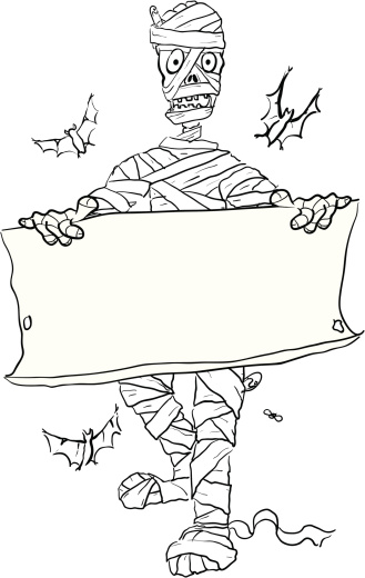 Mummy and Parchment Sketch - Halloween