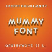 Mummy Bandage Font. Halloween Sans Serif Typeface. Letters, Punc