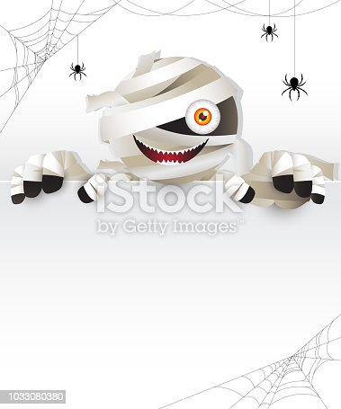 istock mummy behind white frame 1033080380