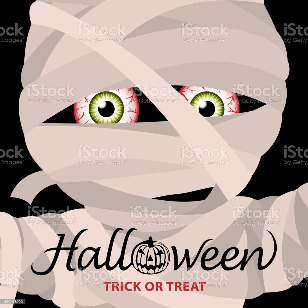 Mummy Halloween Party Invitation vector art illustration