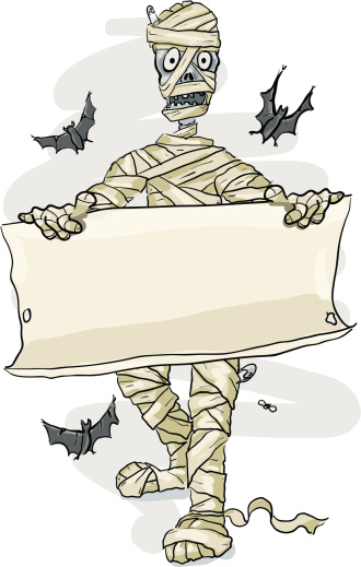 Mummy Holding a parchment Sign, Halloween