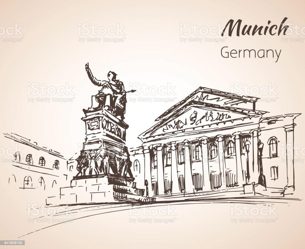 Munchen Stadtlandschaft Germanysketch Stock Vektor Art und mehr ...