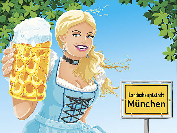 Munich City Sign Oktoberfest Beer Woman Vector Vector Illustration of a beautiful bavarian woman, who is holding a beer stein in front of a Munich city road sign. She is wearing a traditional Dirndl. The woman, the leaves, the traffic sign and the background are on separate layers. The colors in the .eps-file are ready for print (CMYK). Transparencies used. Included files: EPS (v10) and Hi-Res JPG. women stock illustrations