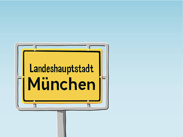 Munich City Traffic Sign Blue Sky Vector Hand-drawn Vector Illustration of a Munich City Traffic Sign in front of a clear blue sky. Landeshauptstadt is the german term for state capital. Munich is the capital of the state of Bavaria. The colors in the .eps-file are ready for print (CMYK). All objects are on separate layers. Included files: EPS (v8) and Hi-Res JPG. oktoberfest stock illustrations