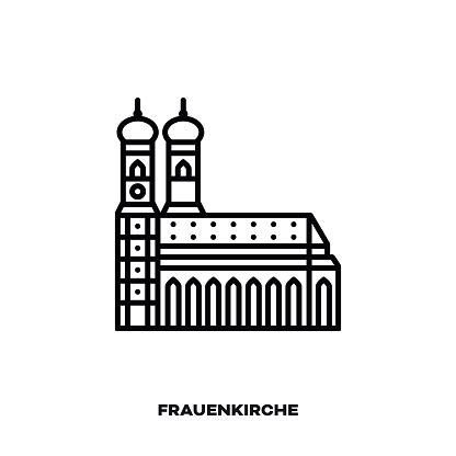 Munich Frauenkirche, Bavaria, Germany vector line icon.