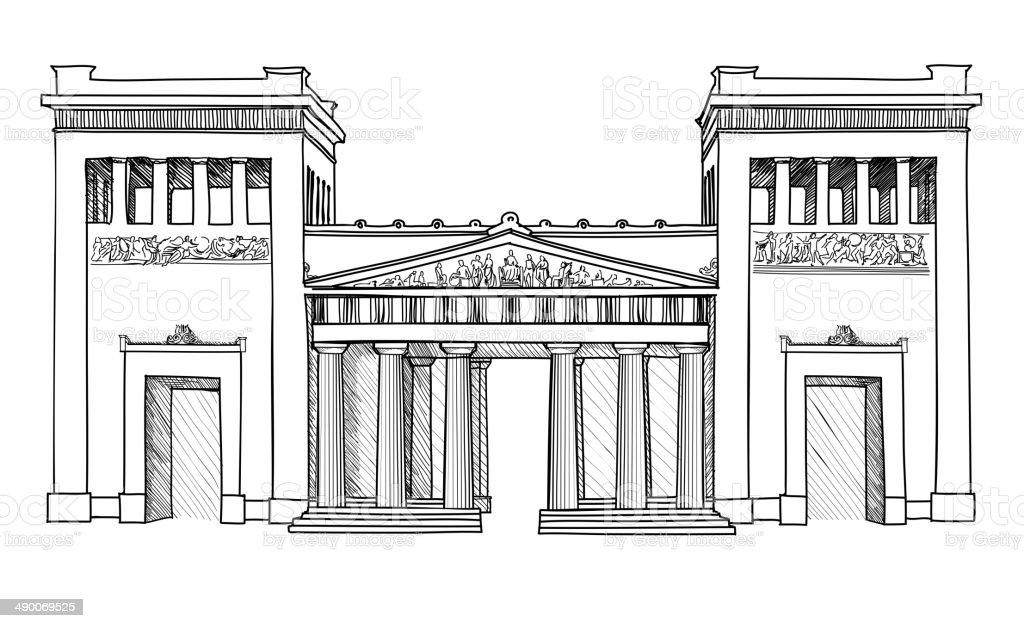Munich Gateway landmark. Hand drawn sketch isolated. vector art illustration