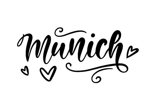 Munich Germany modern city hand written brush lettering