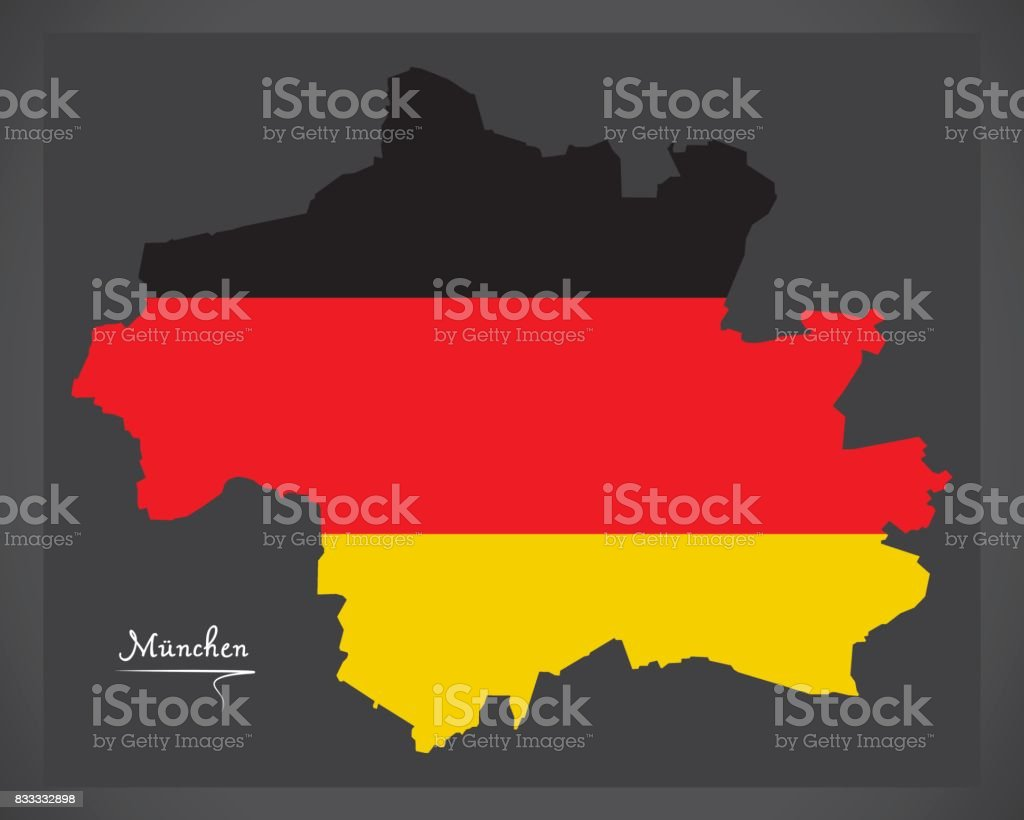 Munich map with German national flag illustration vector art illustration