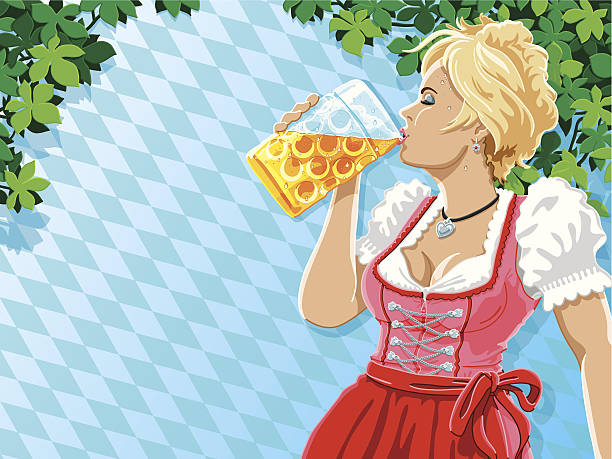 Munich Oktoberfest Woman Drinking Beer Bavarian Pattern Vector Illustration of a beautiful bavarian woman, who is drinking Beer. She is wearing a traditional Dirndl. The woman, the leaves and the background pattern are on separate layers. The colors in the .eps-file are ready for print (CMYK). Transparencies used. Included files: EPS (v10) and Hi-Res JPG. women stock illustrations