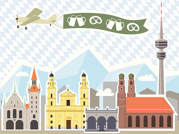 bildbanksillustrationer, clip art samt tecknat material och ikoner med munich skyline - münchens nya rådhus