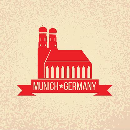 Munich. Travel Germany emblem. Bavaria capital sign.