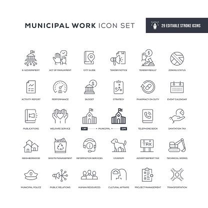 Municipal Work Editable Stroke Line Icons