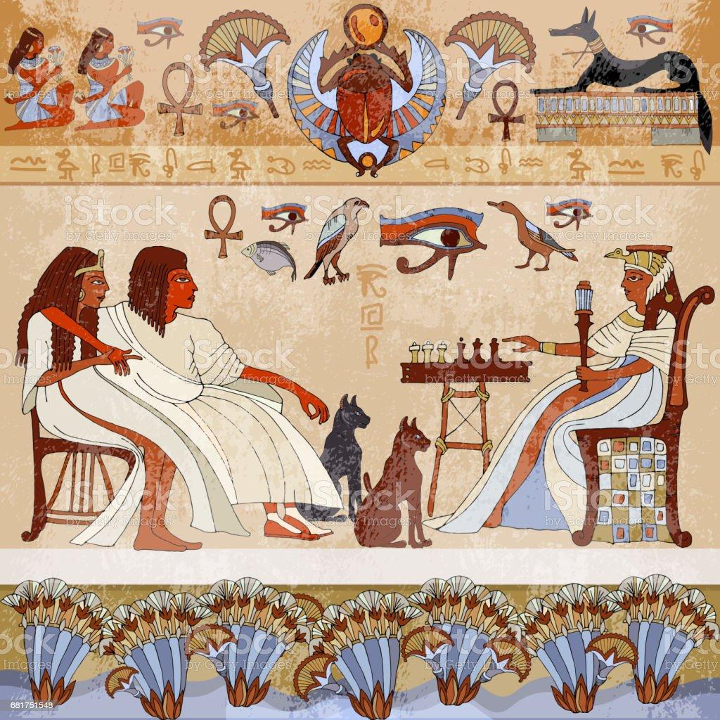 Ilustracion De Murales Antiguos Egyptscene Dioses Egipcios Y
