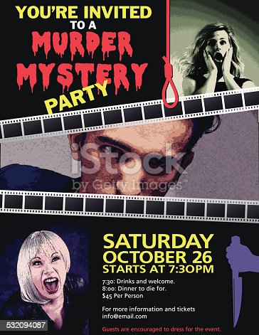 A murder mystery party invitation with two film strips across the center, splitting the invite into three parts, while a noose hanging from the top separates text from a picture of a woman looking scared. The middle image is of a man looking directly at the camera, with details and a scary woman beneath.