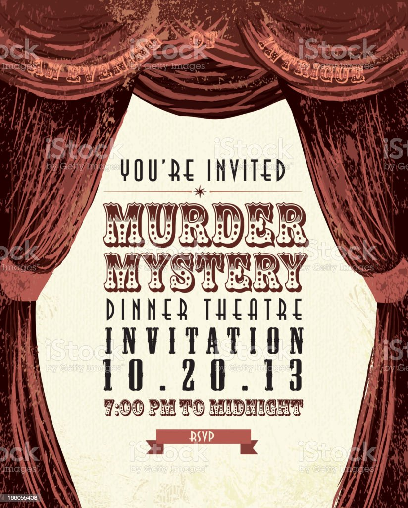 Murder Mystery Dinner Theatre invitation template vintage design vector art illustration