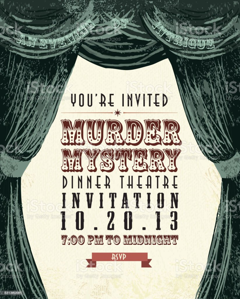 Murder Mystery Dinner Sheet Free: Murder Mystery Dinner Theatre Invitation Template Vintage