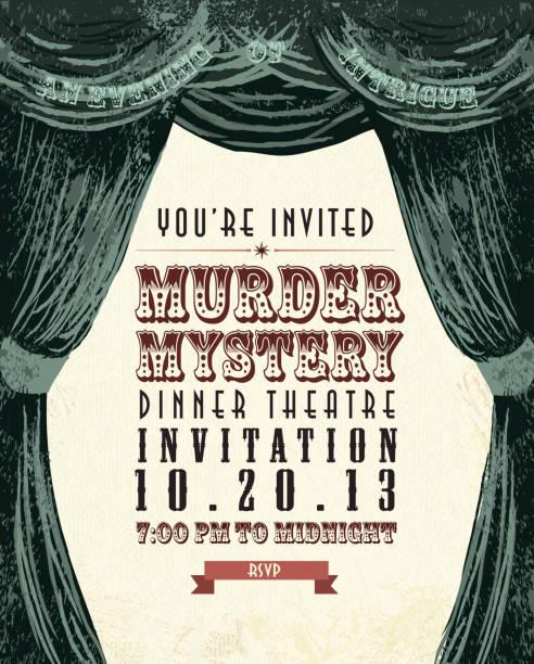 illustrazioni stock, clip art, cartoni animati e icone di tendenza di omicidio mystery dinner theatre design vintage invito modello - sipario