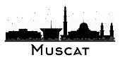 Muscat City skyline black and white silhouette.