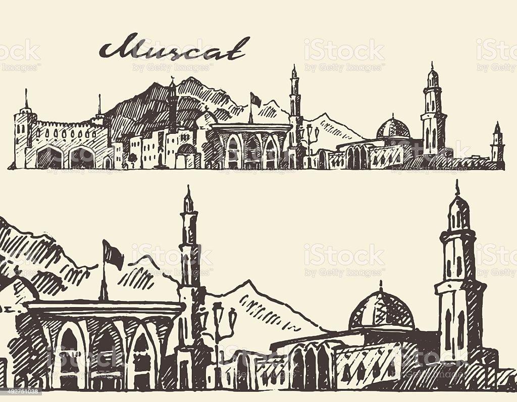 Muscat engraved illustration hand drawn sketch vector art illustration