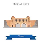 Muscat Gate in Oman. Flat cartoon style historic sight showplace attraction web site vector illustration. World countries cities vacation travel sightseeing Asia collection.